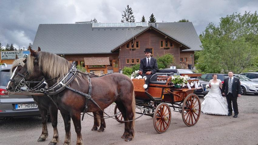 Hochzeitsfeier im Schwarzwald mit Pferdekutsche zur Feier